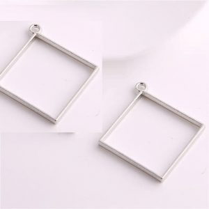 Silver Square Pendant Blank Frame