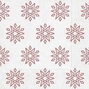 Starry White/Red Decoupage Napkin