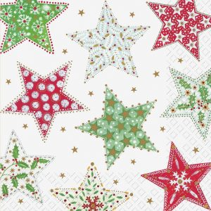 Red, Green & White Printed Stars Decoupage Napkin