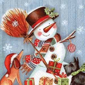 Snowman With broomstick Decoupage Napkin