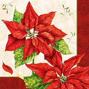 Red Poinsettia With Leaf Decoupage Napkin