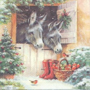 Christmas Donkeys With Boot Decoupage Napkin