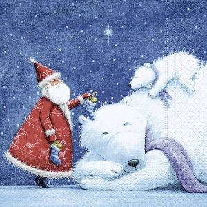 Santa And Polar Bears Decoupage Napkin