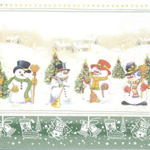 Four Snowmen With Broomstick Decoupage Napkin