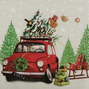 Santa Car With Gifts Decoupage Napkin