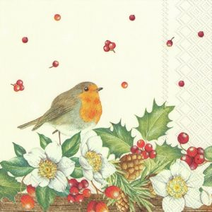 A Robin With White Flower Decoupage Napkin