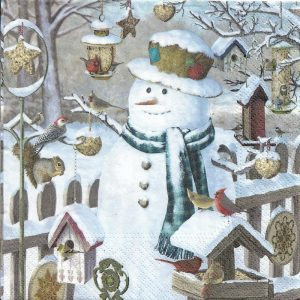Snowman With Robin And Squirrel Decoupage Napkin
