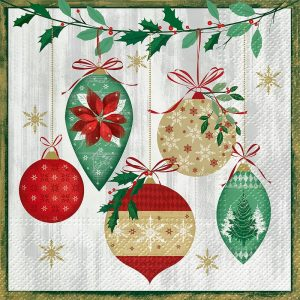 Hanging Christmas Baubles Decoupage Napkin