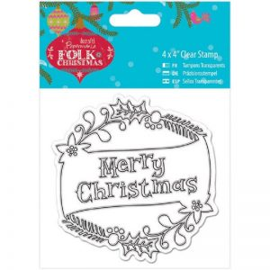 "Papermania Folk Christmas Clear Stamps, 4"" x 4"" - Merry Christmas"