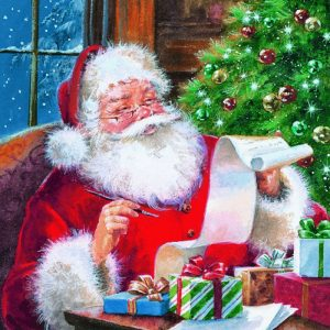 Santa Checking Wish List Decoupage Napkin