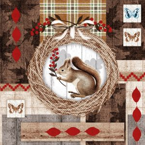 Squirrel And Owl In Circle Decoupage Napkin