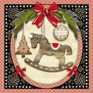 Rocking Horse In Circle Decoupage Napkin