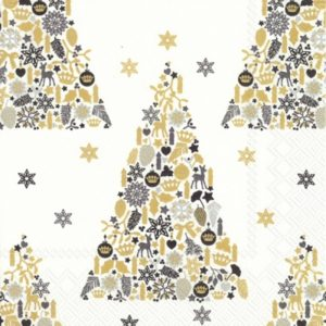 Christmas Tree Black Pattern Decoupage Napkin