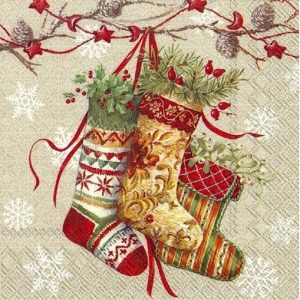 Decoration Of Christmas Stocking Decoupage Napkin