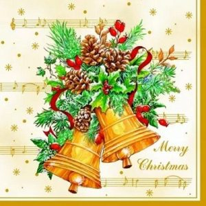 Decoration Of Christmas Bells Decoupage Napkin