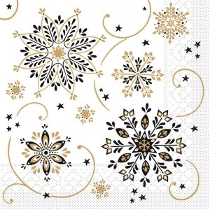 Gold And Black Snowflake Decoupage Napkin