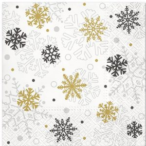 Black And Gold Snowflake Decoupage Napkin