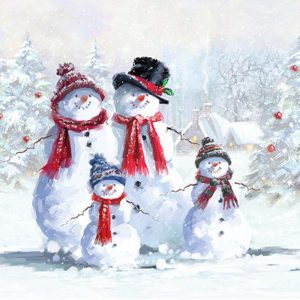 Four Snowmen With Hats Decoupage Napkin