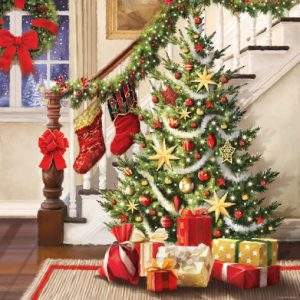 Christmas Decoration Near Staircase Decoupage Napkin