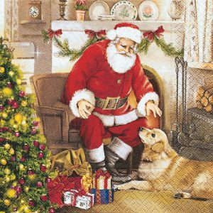 Santa With Puppy And Gifts Decoupage Napkin