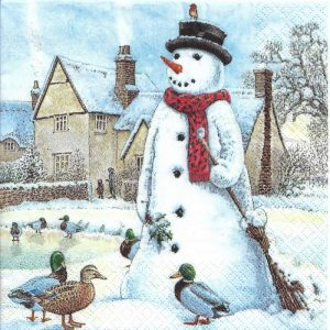 Snowman With Duck Decoupage Napkin