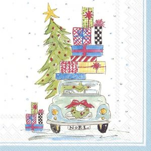 Christmas Car Decoupage Napkin