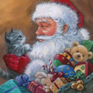 Santa With Cat Decoupage Napkin