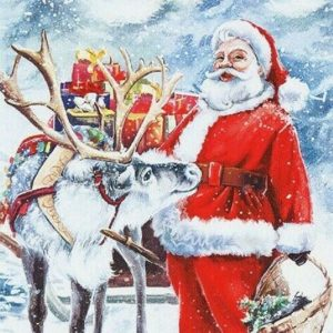 Santa And Deer Decoupage Napkin