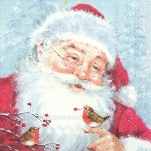 Santa With Robin Decoupage Napkin