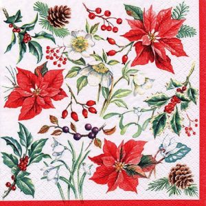 Poinsettia With Cherry And Pinecones Decoupage Napkin