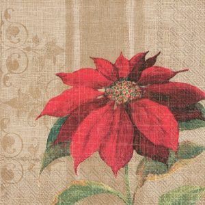 Poinsettia In Brown Background Decoupage Napkin