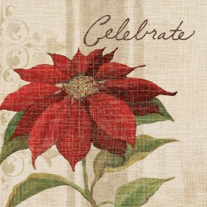 Poinsettia In Off White Background Decoupage Napkin