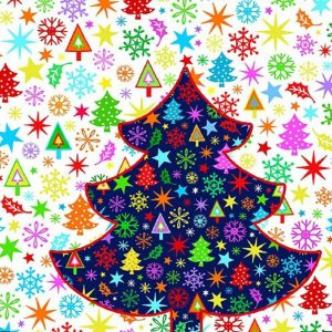 Colourful Christmas Tree Decoupage Napkin