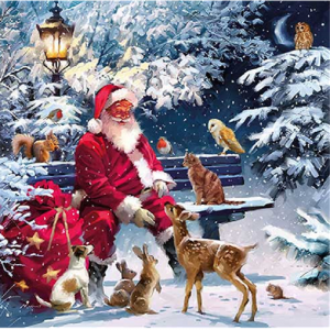 Santa Sitting On Bench With Gifts Decoupage Napkin