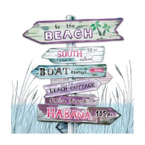 To The Beach Road Blue Decoupage Napkin