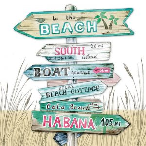 To The Beach Road Green Decoupage Napkin