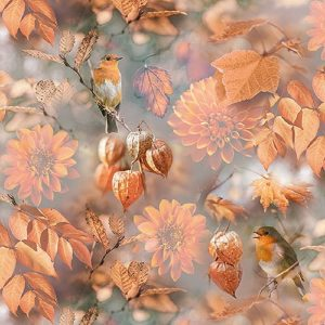 Fall Colour Birds, Leaves And Flowers Decoupage Napkin