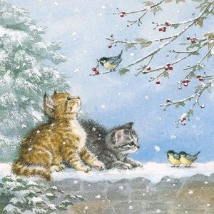 Cats And Birds Decoupage Napkin