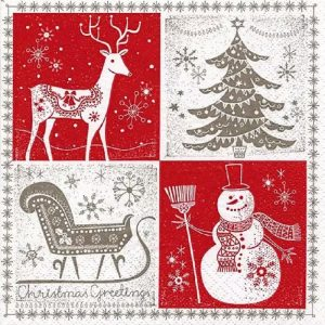 Christmas Greetings Decoupage Napkin