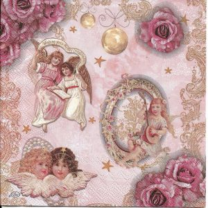 Angel With Roses Decoupage Napkin