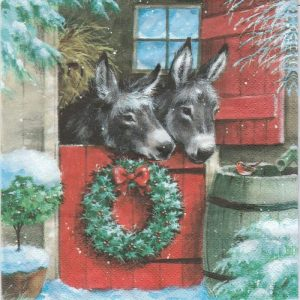 Two Donkeys With Robin Decoupage Napkin