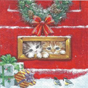 Two Cats With Christmas Gifts Decoupage Napkin