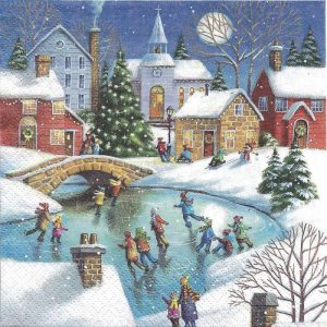Children Winter Ice Skating Decoupage Napkin