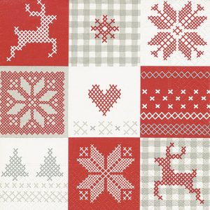 Christmas Crosstitch Decoupage Napkin