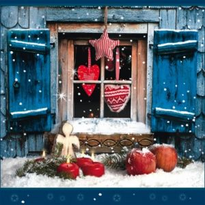 Decoration Of Christmas Window Decoupage Napkin