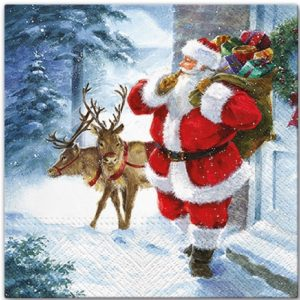 Santa And Deer Coming With Gifts Decoupage Napkin