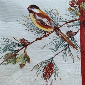 Brown Bird Sitting On A Branch Decoupage Napkin