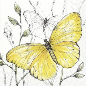 Yellow Butterfly Decoupage Napkin