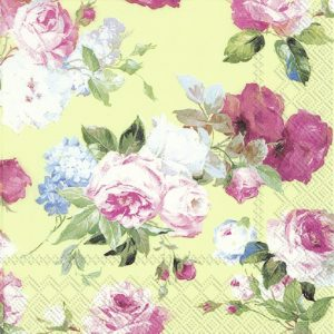 Painted Flower In Green Background Decoupage Napkin