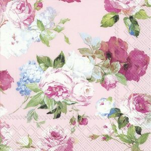 Painted Flower In Pink Background Decoupage Napkin